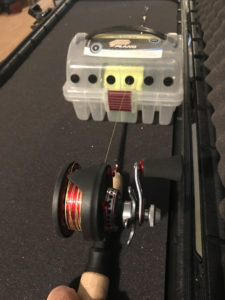 Spooling Ice Fishing Reel with Plano Line Spool Box