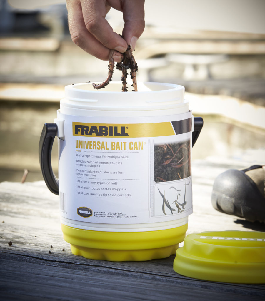 When taking worms in the boat, the Frabill Universal Bait Can is the best option.