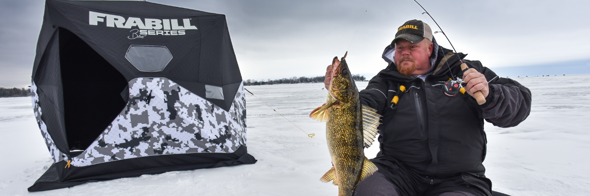 Brian Brosdahl ice fishing for walleye with the Frabill Straight Line 371 reel.